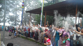 Tibetans in Dharamsala doing sangsol for His Holiness Long Life.