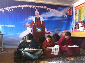 Students giving test on Tibetan language
