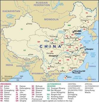 Map of China's Tibet