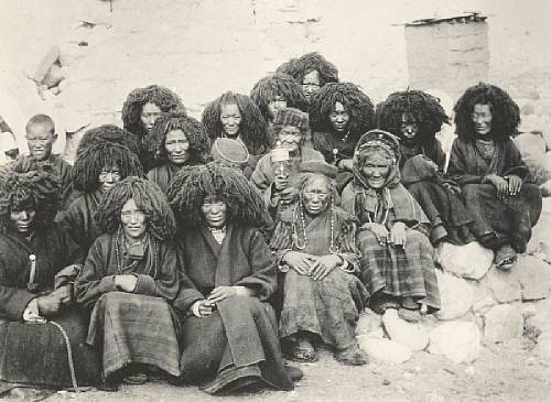 One of the most abused picture of Tibetan nun's to this day, wearing wigs to keep their heads warm, taken by John Claude White from the Younghusband mission.