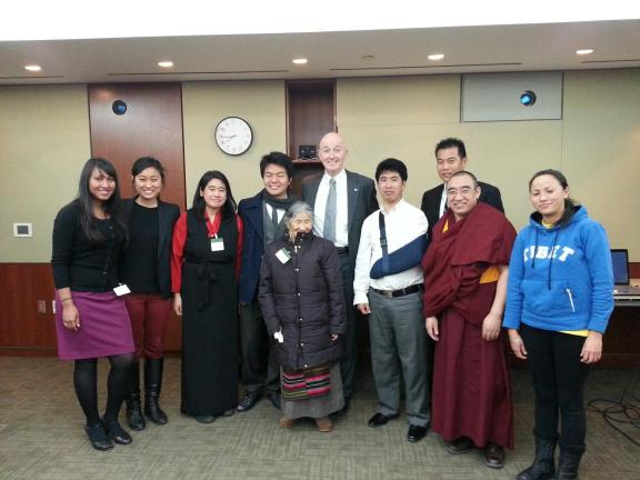The Ottawa Tibetan community with Dechen Pemba, Ugen Badheytsang (SFT Canada National Director), Tsewang Dhondup (a gunshot wound survivor of the 2008 Uprisings in Tibet), and Kushok Jamyang, with Canadian Member of Parliament and Chair of the Canadian Parliamentary Friends of Tibet David Sweet.