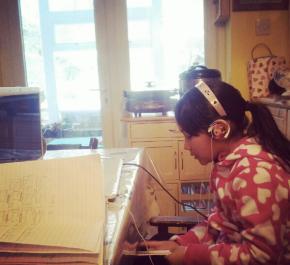 Practising her Tibetan online
