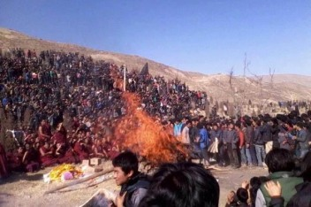 Dorje Lhundup's cremation attended by Local Tibetans. 4 November 2012. Amdo Rebkong.