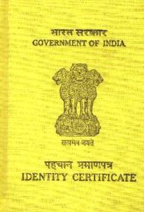 Identification Certificate. Tibetan Yellow book.