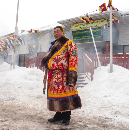 A Tibetan man in his traditional dress during Losar in Minnesota, 2014.